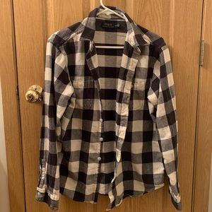 Black, Gray, and White Polo Flannel